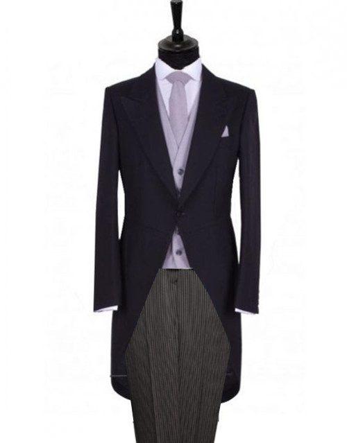 redingota sacou negru vesta purple pantaloni bleomarin cu dungi fine constume ceremonie gentlemens tailoring